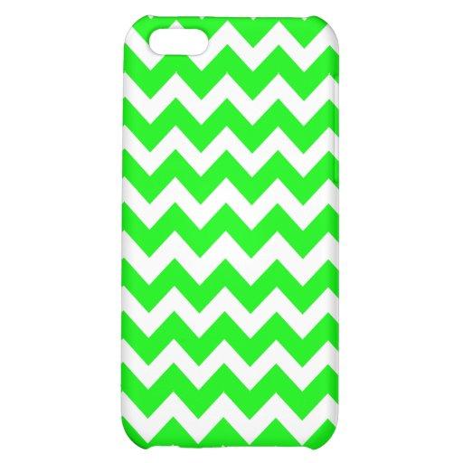 Fluorescent Hot Green Chevron Pattern iPhone 5C Case