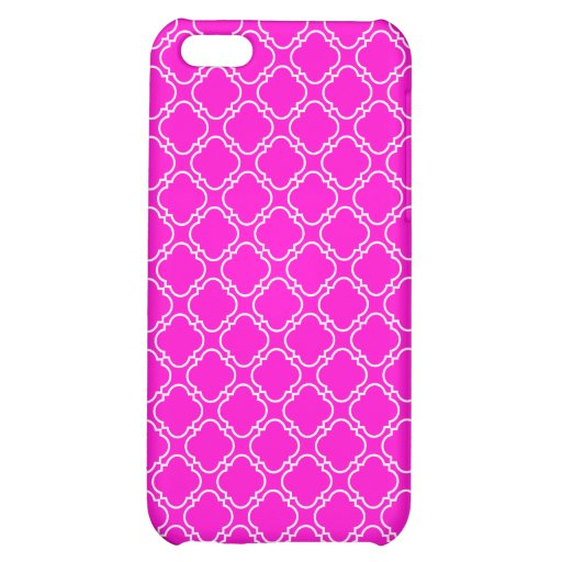 Fluorescent  Hot Pink Barbed Quatrefoil Pattern Cover For iPhone 5C
