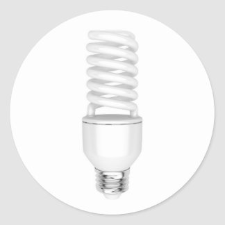 Fluorescent light bulb classic round sticker