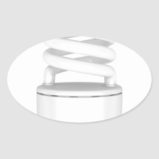 Fluorescent light bulb oval sticker