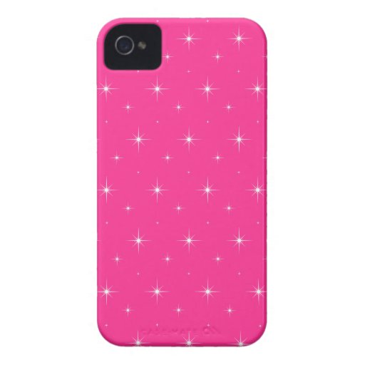 Fluorescent Pink And Bright Stars Elegant Pattern iPhone 4 Cover