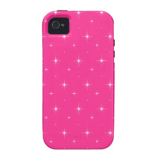 Fluorescent Pink And Bright Stars Elegant Pattern iPhone 4 Case