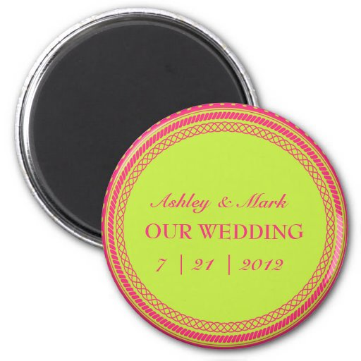 Fluorescent  Pink & Green Save the Date Magnets