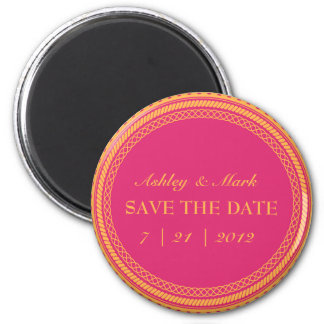 Fluorescent  Pink & Orange Save the Date Magnets