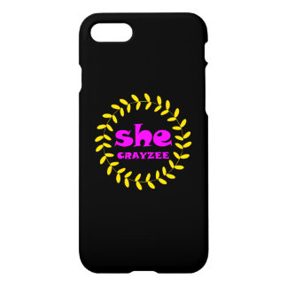 Fluorescent Pink She Crayzee iPhone 8/7 Case