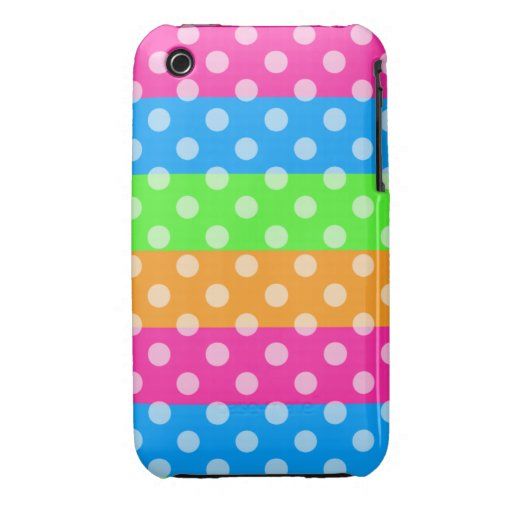 Fluorescent Rainbow with Polka Dots iPhone 3 Case-Mate Cases