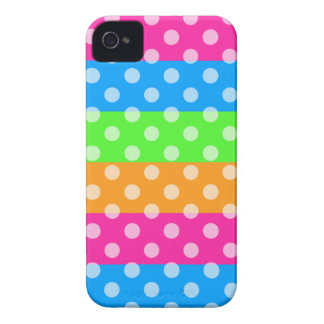 Fluorescent Rainbow with Polka Dots iPhone 4 Case-Mate Case