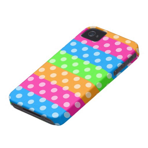 Fluorescent Rainbow with Polka Dots Case-Mate iPhone 4 Case