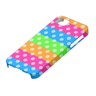Fluorescent Rainbow with Polka Dots iPhone 5 Covers