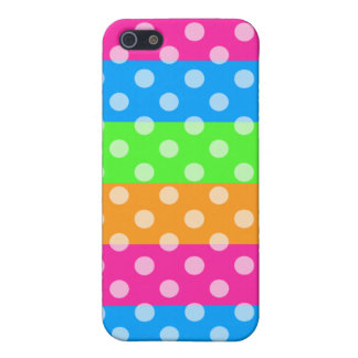 Fluorescent Rainbow with Polka Dots Cases For iPhone 5