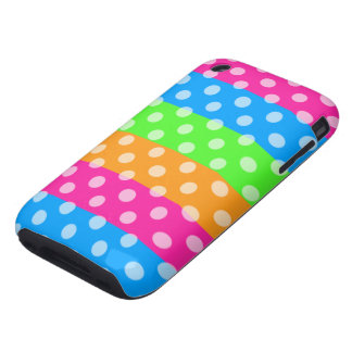 Fluorescent Rainbow with Polka Dots Tough iPhone 3 Cover