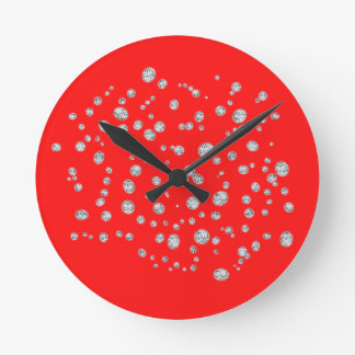 Fluorescent Red Crystal Wall Clock