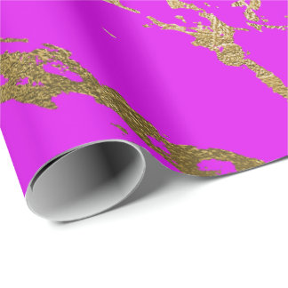 Fluorescent Vivid Pink Gold Marble Shiny Glam Wrapping Paper