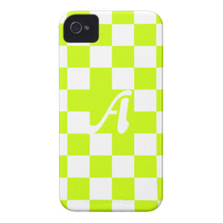 Fluorescent Yellow and White Checkered Monogram iPhone 4 Case-Mate Case