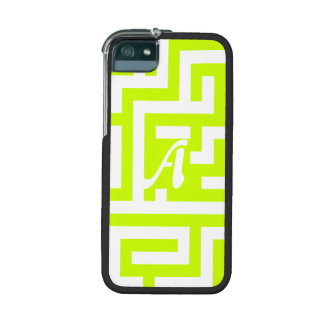 Fluorescent Yellow and White Maze Monogram iPhone 5/5S Case