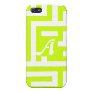 Fluorescent Yellow and White Maze Monogram Cover For iPhone 5