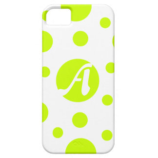 Fluorescent Yellow and White Polka Dots Monogram iPhone 5 Case