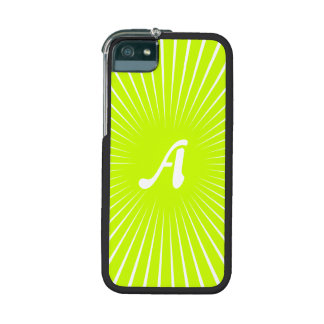 Fluorescent Yellow and White Sunrays Monogram iPhone 5/5S Case