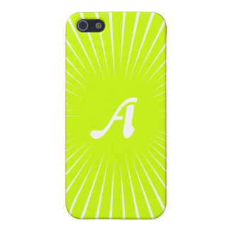 Fluorescent Yellow and White Sunrays Monogram Covers For iPhone 5