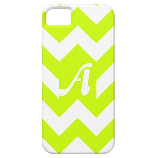 Fluorescent Yellow and White Zigzag Monogram iPhone 5 Case