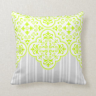 Fluorescent Yellow Modern Dmask Stripe Throw Pillow