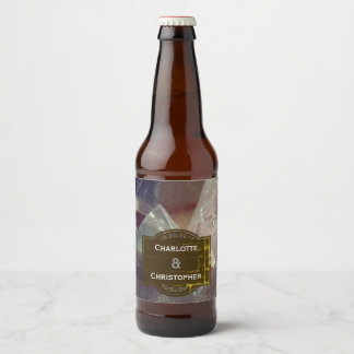 Fluorite Gemstone Personalized Wedding Beer Bottle Label
