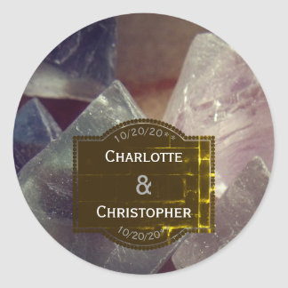Fluorite Gemstone Personalized Wedding Classic Round Sticker