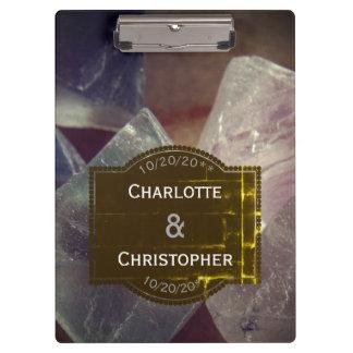 Fluorite Gemstone Personalized Wedding Clipboard