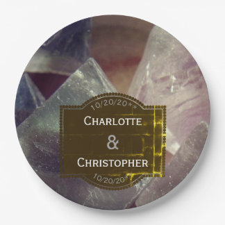 Fluorite Gemstone Personalized Wedding Paper Plate