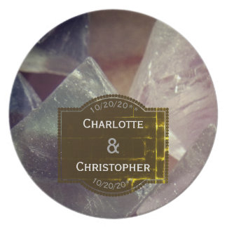 Fluorite Gemstone Personalized Wedding Plate