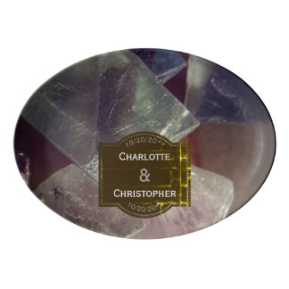 Fluorite Gemstone Personalized Wedding Porcelain Serving Platter