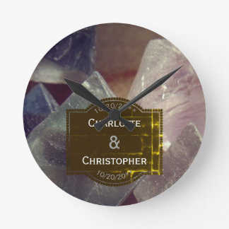 Fluorite Gemstone Personalized Wedding Round Clock