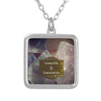 Fluorite Gemstone Personalized Wedding Silver Plated Necklace