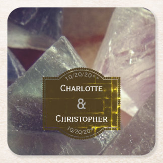 Fluorite Gemstone Personalized Wedding Square Paper Coaster