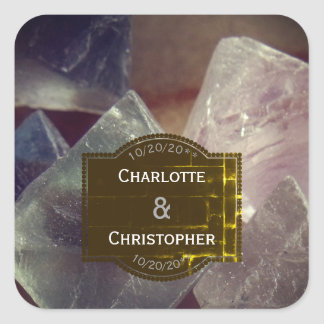 Fluorite Gemstone Personalized Wedding Square Sticker