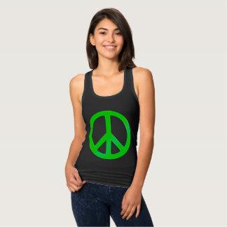 Fluoro Green Peace Symbol for World Peace Tank Top