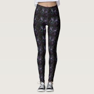 Fluro Abstract Floral Leggings