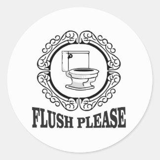 flush please sign round round sticker