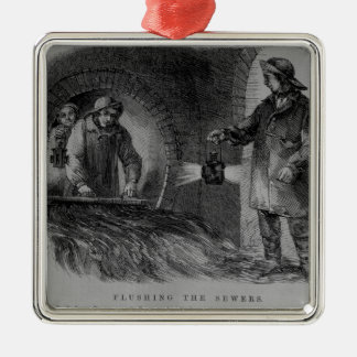Flushing the Sewers Silver-Colored Square Ornament