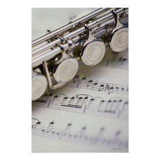 Flute on Sheet Music Poster