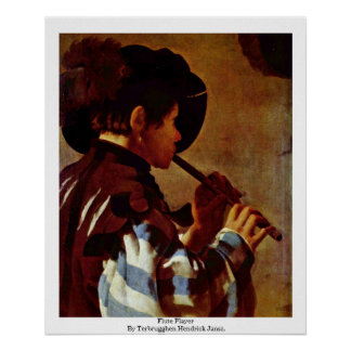 Flute Player By Terbrugghen Hendrick Jansz. Poster