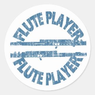 Flute Player Classic Round Sticker