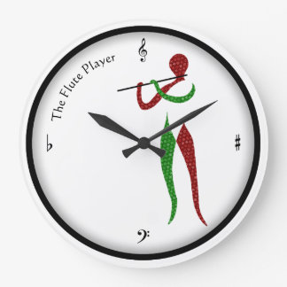 Flute Player with Notes of Time Clock