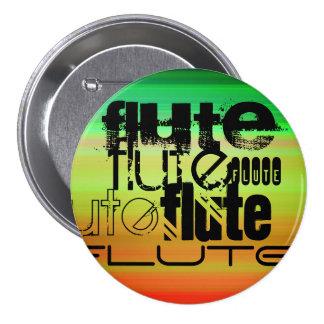 Flute; Vibrant Green, Orange, & Yellow 3 Inch Round Button