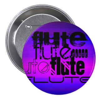 Flute; Vibrant Violet Blue and Magenta 3 Inch Round Button