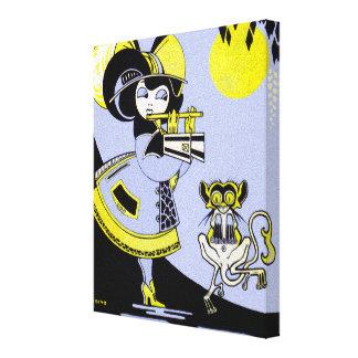 Flutist and the Monkey Canvas Print