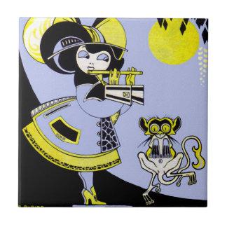 Flutist and the Monkey Ceramic Tile