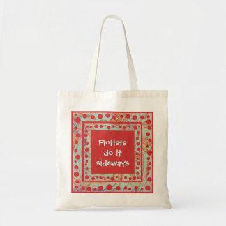 Flutists do it sideways tote bag