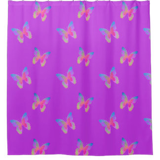 Flutter-byes (violet) pattern shower curtain
