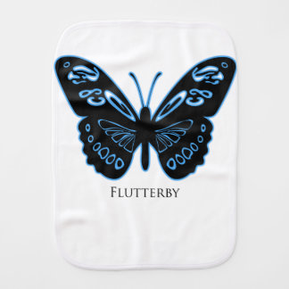Flutterby Black Blue Glow Burp Cloth